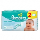 Pampers Fresh Clean Baba popsitörlőkendő 2 x 64 db