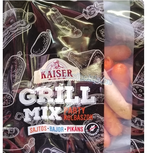 Kaiser party grillkolbász mix sajtos-bajor-pikáns 600 g