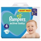 Pampers active baby pelenka Giant pack 4 maxi 9-14 kg (76 db)