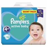 Pampers active baby pelenka Giant pack 4+ maxi plus 10-15 kg (70 db)