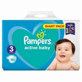 Pampers Active Baby 3-as Méret 90 db Pelenka 6–10 kg