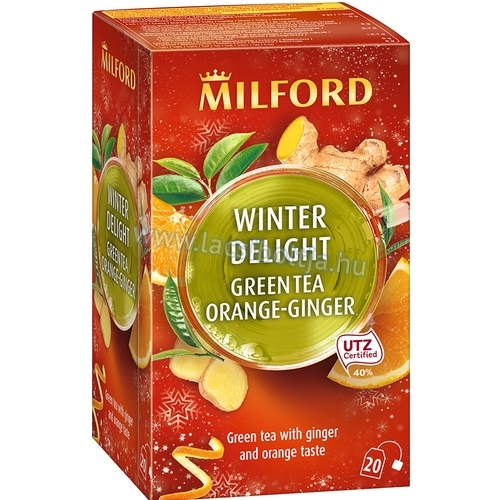 Milford Winter Delight  zöld tea Ginger orange (gyömbéres-narancsos zöldtea) 20 x 1,75 g